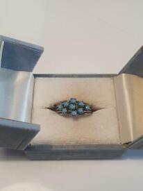 Beautiful Vintage Turquoise Silver Round Multi Stone Aquamarine Art Deco Ring Jewellery Wedding Gift