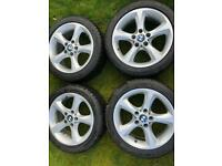 Genuine BMW 17 inch alloy wheels with winter tyres