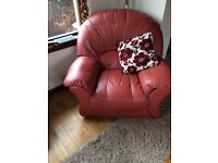 Leather 3 seater sofa and two armchairs