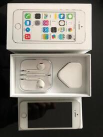 iPhone 5s 16GB unblocked & black leather Apple iPhone case.