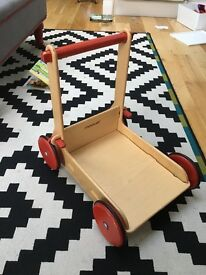 Moover wooden toy cart, pushalong, walking Aid, walker