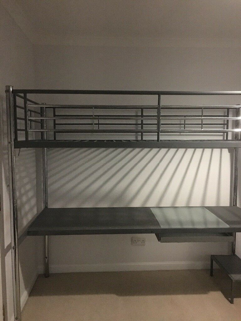 Single High Sleeper Bed Frame With Desk Table Underneath