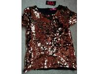 Brand New Girls gold and black sequin top