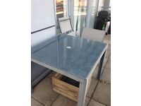 Grey glass top / alloy table & 2 chairs