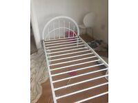 White metal bed frame