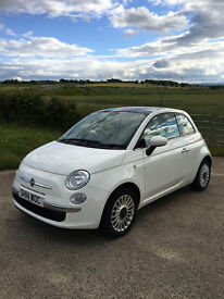 Top Spec 2014 Fiat 500 (Lounge) White, Start/Stop, FSH. Low miles. Lovely condition.