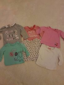 Baby girls clothing 3-6 months 6 tops all in great condition
