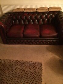 Leather Chesterfield Oxblood Red