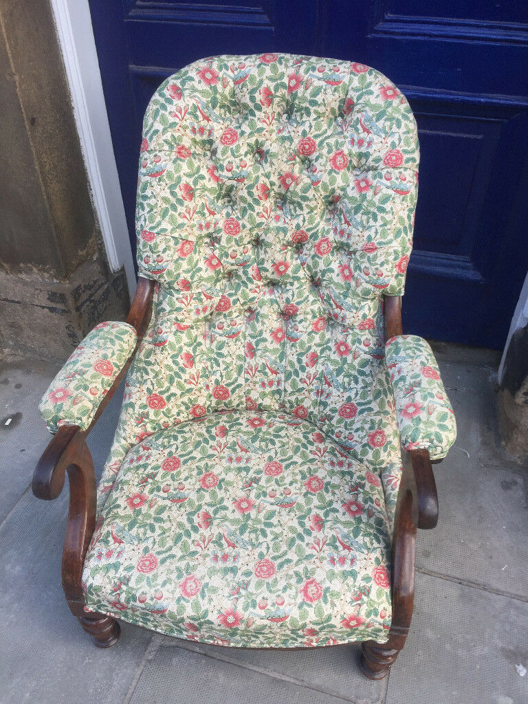 Mahogany framed slipper Chair , with floral design , Liberty Print Fabric. Free Local Delivery