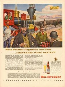 1944 full-page color magazine ad for Budweiser