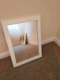White woode framed mirror