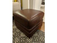 Pouffe Brown Leather