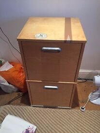 Pine wood effect double drawer filing cabinet