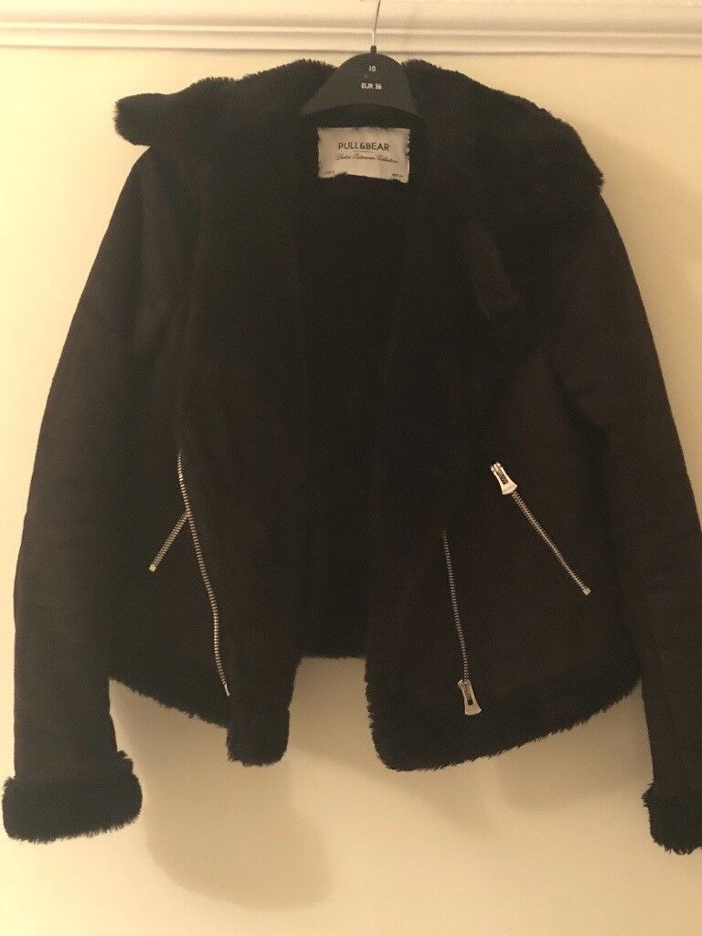 Size 8 Pull & Bear Faux Fur suede Jacket worn once