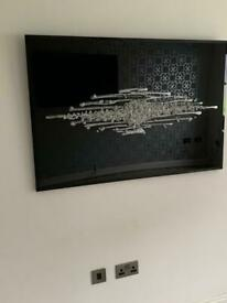 Large Black glass liquid art with crystals picture