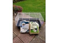 Ferplast 100cm Indoor Rabbit/Guinea Pig Cage/Hutch plus extras