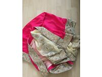 Pink and cream saree
