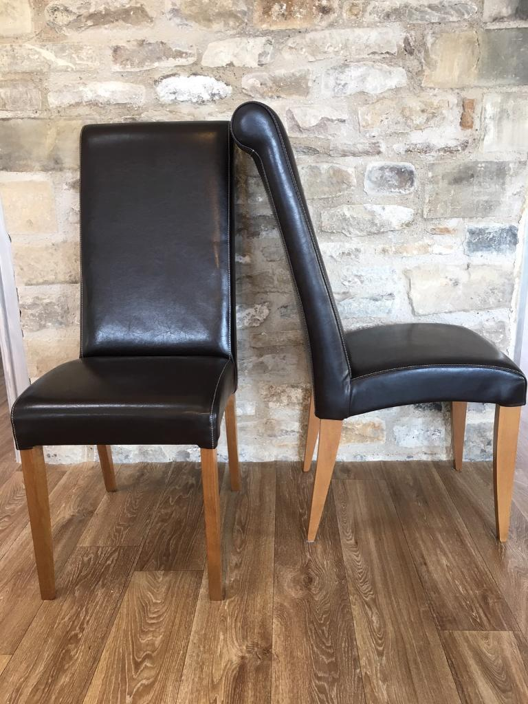 Dining chairs (6) leather effect high back comfortable!