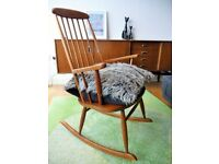 Mid century vintage rocking chair, hand crafted teak armchair, Ilmari Tapiovaara Danish Scandinavian