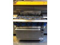 Blue Seal Commercial 6 Burner Gas Cooker with Oven (Takeaway, Restaurant, Kebab shop)