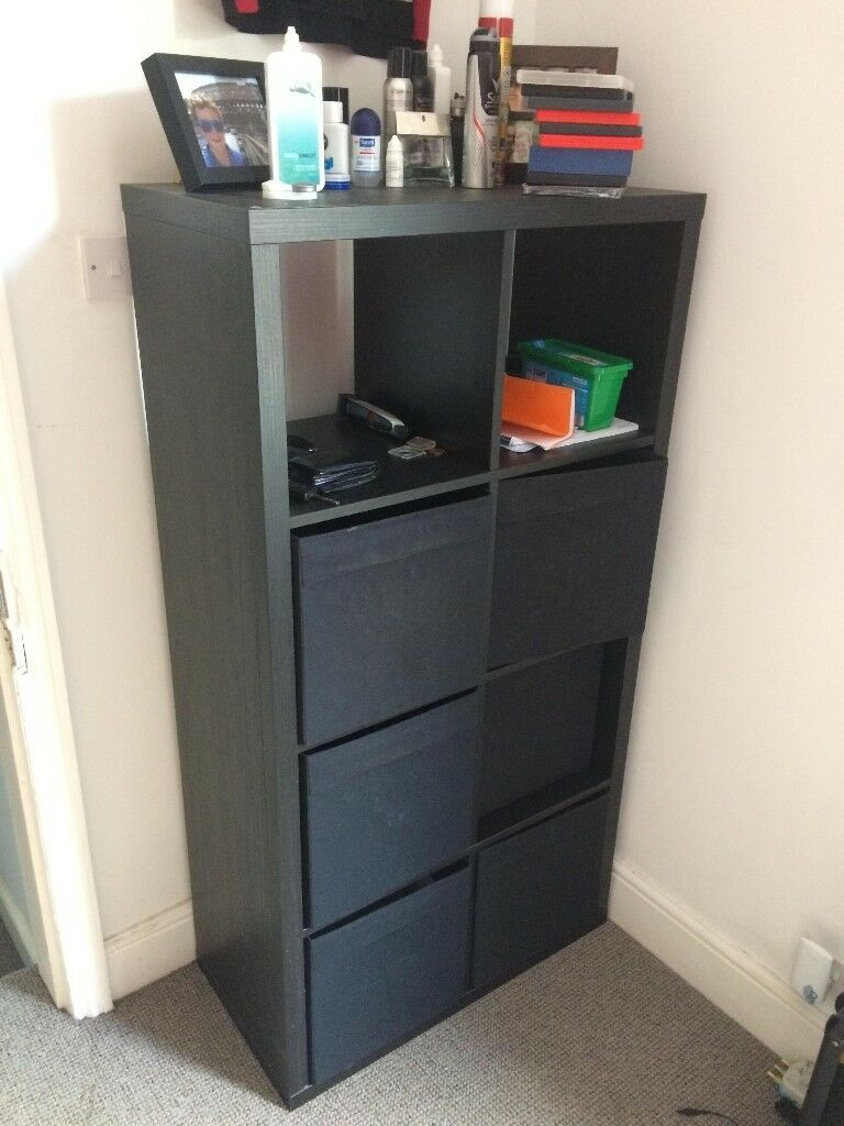Black Ikea Bookshelf With 6 Pullout Drawers