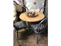 Kitchen/dining farmhouse style table and four chairs wood and slate grey