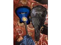 Blue acoustic guitar, good condition
