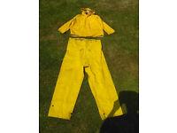 Trawlerman Fisherman yellow outfit PVC waterproof clothing fishing sea boat