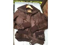 Brown leather jacket New Look
