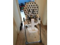 White and grey high chair