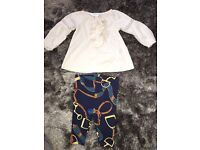 Ralph Lauren baby girl blouse and leggings - age 3 months