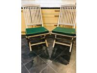 Pair of Solid Teak Wood Folding Garden Chairs with matching racing green seat cushions 💕