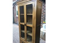 Oak glass fronted book case/ display cabinet