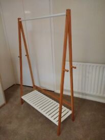 Clothes Rail with Shelf - Bamboo & White
