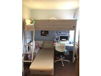 High sleeper bunk bed with desk & sofa bed