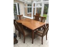 Solid Wood Walnut Dining Table & 6 Chairs (Extendable) - Cost over £1,000 new