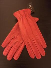 Genuine red leather gloves women