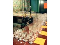 BEER, WINE, SPIRIT AND SHOT GLASSES. LARGE ASSORTMENT OF 130 DRINKING GLASSES FROM AN ACTUAL BAR.