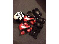 Rio Roller Pure Quad Skates, helmet, knee, elbow and wrist pads set