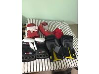 Punch bag and assortment of boxing gear