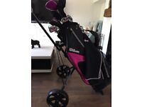 Ladies Wilson golf clubs and trolley full set