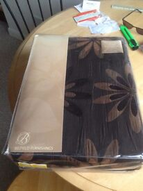 Brown Patterned lined Curtains - Brand new and packaged 168 x 137cm and new rail
