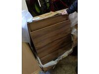 walnut coloured two drawer vanity unit
