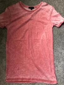 River island burnout tshirt red xxs
