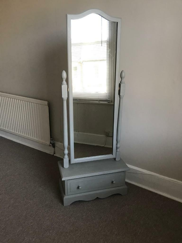 Victorian cheval mirror with storage