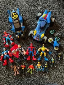 Imaginext bundle. Marvel and DC. Batman. Figures and vehicles