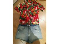 Karmakula Hawaiian shirt and New Look Denim shorts