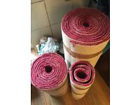 Thick pile carpet offcuts red/pink colour