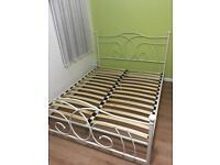 White metal bed frame. King size.