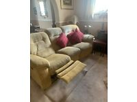 3 SEATER SOFA, RECLINING, 2 ARMCHAIRS IN BEIGE, GOOD CONDITION, PET FREE HOUSEHOLD